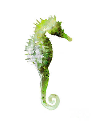Seahorse Mixed Media - Green Seahorse Watercolor Art Print Painting by Joanna Szmerdt