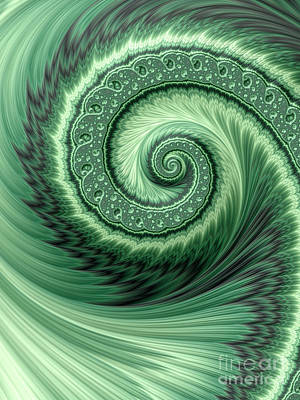 Web Digital Art - Green Shell by John Edwards