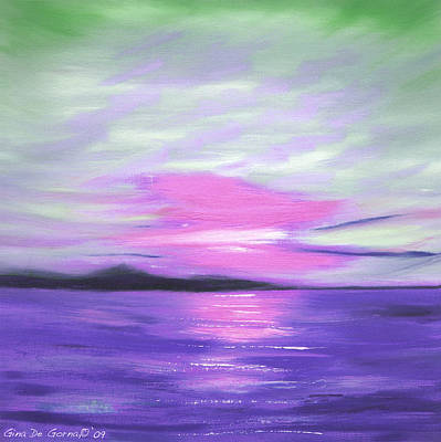 Green Skies And Purple Seas Sunset Original by Gina De Gorna