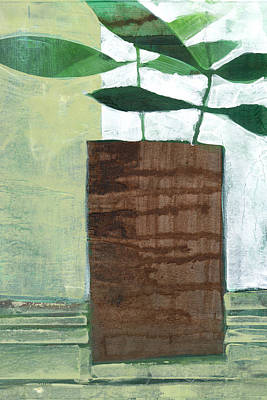 Pottery Barn Style Painting - Green Still Life by Janine Aykens