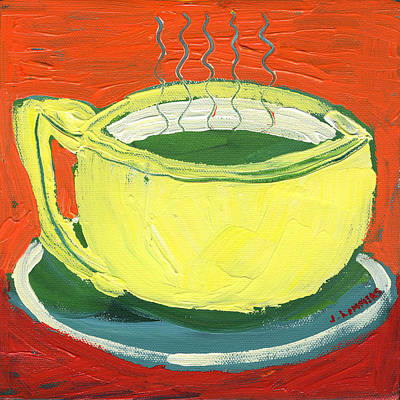 Modern Abstract Painting - Green Tea by Jennifer Lommers
