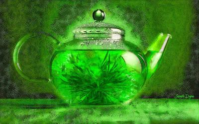 Container Painting - Green Tea Pot - Pa by Leonardo Digenio