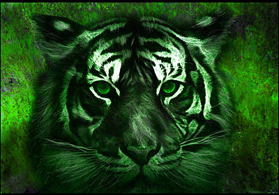 Tiger Digital Art - Green Tiger by Michael Cleere