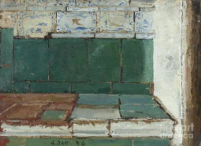 Tile Painting - Green Tiled Stove by Celestial Images
