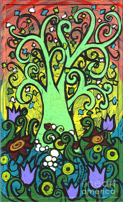 Healing Art Painting - Green Tree With Purple Tulips by Genevieve Esson