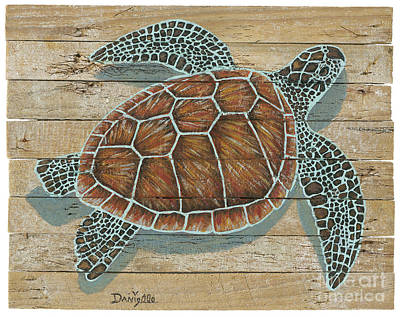 Green Turtle On Lobster Trap Wood  Print by Danielle Perry