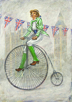 Tweed Run Lady In Green Pedalling Past The Houses Of Parliament Print by Mark Howard Jones