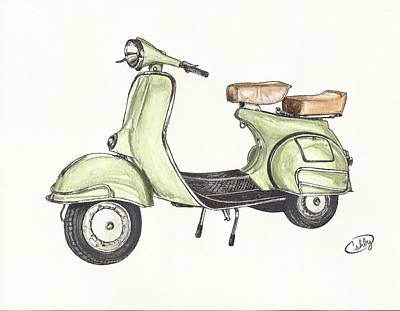 Italian Classic Car Drawing - Green Vespa by Brian Ashby