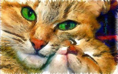 Tiger Digital Art - Green Vision - Da by Leonardo Digenio