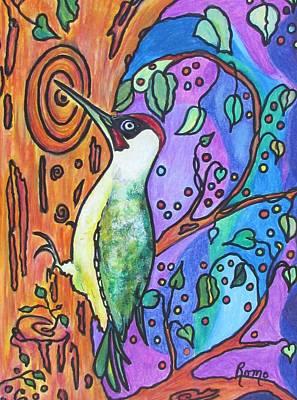 Woodpecker Mixed Media - Green Woodpecker by Robin Monroe