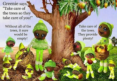 Mango Digital Art - Greenie Poster 1 by Caroline Czelatko