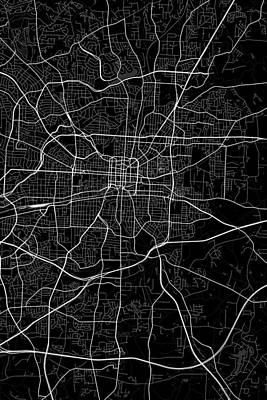 United States Digital Art - Greensboro North Carolina Usa Dark Map by Jurq Studio