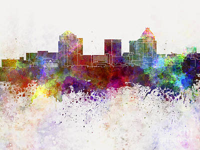 Greensboro Painting - Greensboro Skyline In Watercolor Background by Pablo Romero