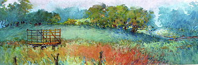 Hayfield Painting - Greenville Hayfield In The Rain by Virgil Carter