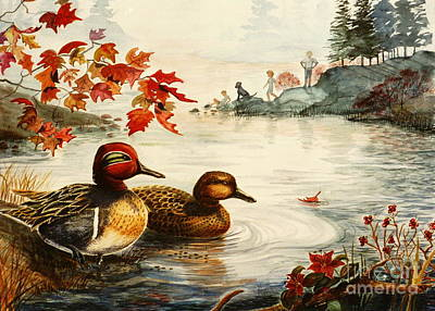 Black Lab Watercolor Painting - Greenwinged Teal Ducks by Marilyn Smith