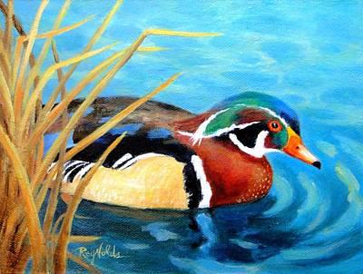 Greeting  The Morning  Wood Duck Original by Carol Reynolds