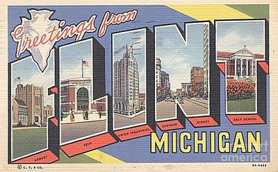 Store Fronts Painting - Greetings From Flint Michigan by Positively Flint