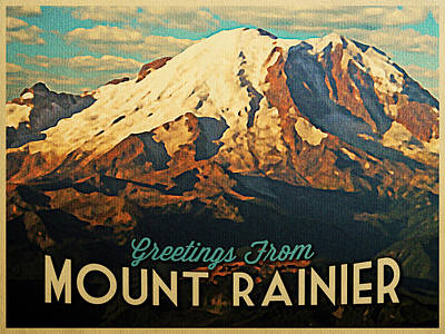 Snowy Digital Art - Greetings From Mount Rainier by Flo Karp