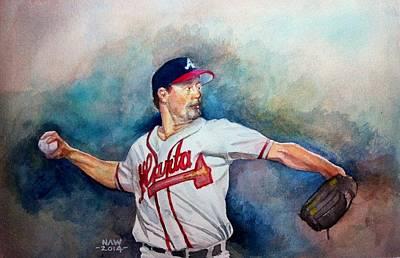 Baseball Drawing - Greg Maddux by Nigel Wynter