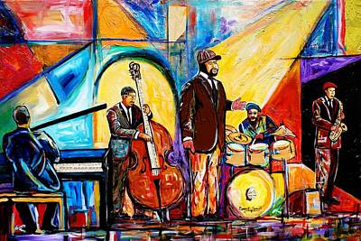 Jacob Lawrence Mixed Media - Gregory Porter And Band by Everett Spruill