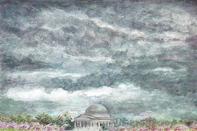 Jefferson Memorial Painting - Grey And Beautiful Day At The Tidal Basin by Lin-Lin Mao