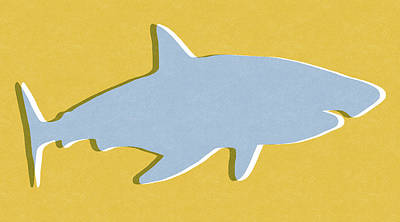 Grey And Yellow Shark Print by Linda Woods