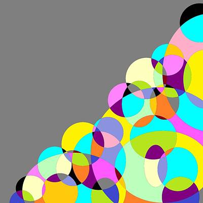 Round Digital Art - Grey Multicolored Circles Abstract by Marianna Mills