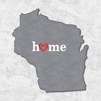 State Map Outline Wisconsin With Heart In Home Print by Elaine Plesser