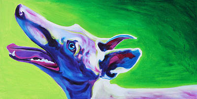 Retired Racer Dog Portrait Painting - Greyhound - Emerald by Alicia VanNoy Call