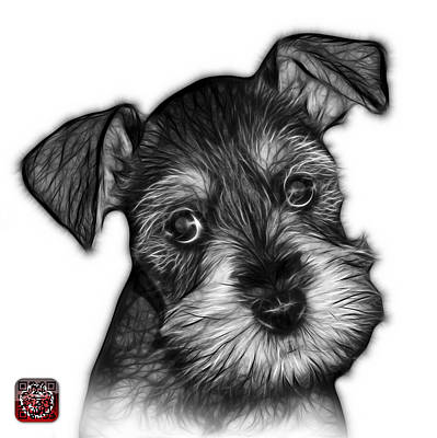 Schnauzer Art Digital Art - Greyscale Salt And Pepper Schnauzer Puppy 7206 Fs by James Ahn