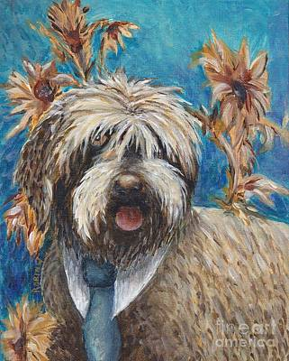 Griffon Painting - Griffon With Sunflowers by Robin Wiesneth