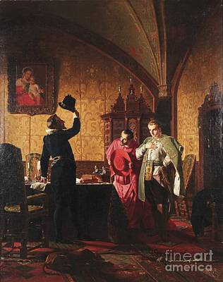 Grigory Otrepiev In Front Of The Polish King Sigismund Print by Celestial Images