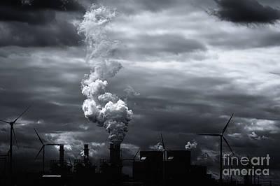 Grim Black White Energy Landscape Print by Jan Brons