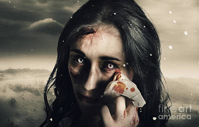 Grim Face Of Horror Crying Tears Of Blood Print by Jorgo Photography - Wall Art Gallery