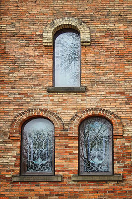 Grisaille Windows - First Congregational Church - Jackson - Michigan Print by Nikolyn McDonBell Tower - First Congregational Chuald