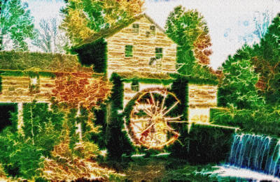 Grist Mill Tranquility Print by Mario Carini