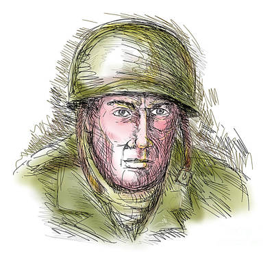 Gritty World War Two Soldier Print by Aloysius Patrimonio