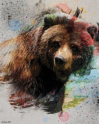 Strong America Digital Art - Grizzly Bear - A Touch Of Curiosity by Ron Grafe