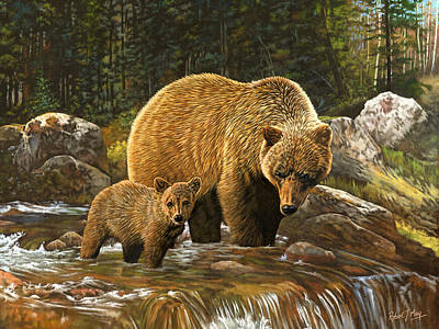 Grizzly Bear And Cub Print by Robert May