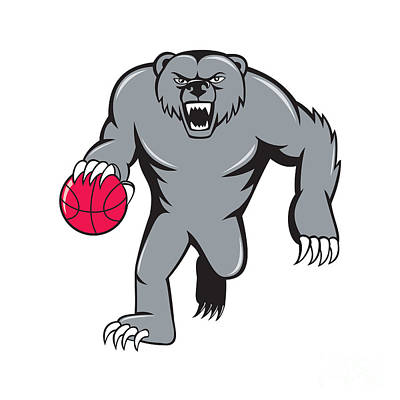 Grizzly Bear Angry Dribbling Basketball Isolated Print by Aloysius Patrimonio