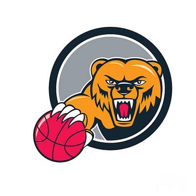 Grizzly Bear Angry Head Basketball Cartoon Print by Aloysius Patrimonio