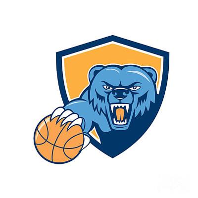 Grizzly Bear Angry Head Basketball Shield Cartoon Print by Aloysius Patrimonio