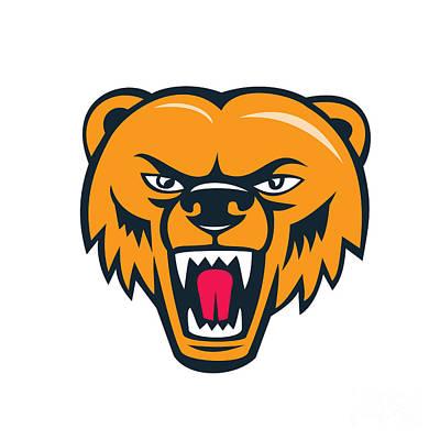 Grizzly Bear Angry Head Cartoon Print by Aloysius Patrimonio