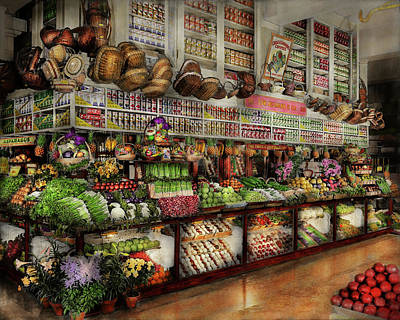 Grocery - Edward Neumann - The Produce Section 1905 Print by Mike Savad