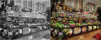 Grocery - Edward Neumann - The Produce Section 1905 Side By Side Print by Mike Savad