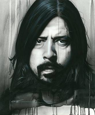 Drip Painting - Dave Grohl - ' Grohl In Black ' by Christian Chapman Art