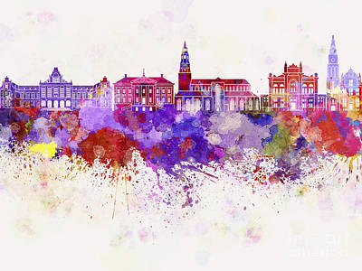 Netherlands Painting - Groningen Skyline In Watercolor Background by Pablo Romero