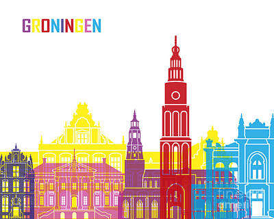 Netherlands Painting - Groningen Skyline Pop by Pablo Romero