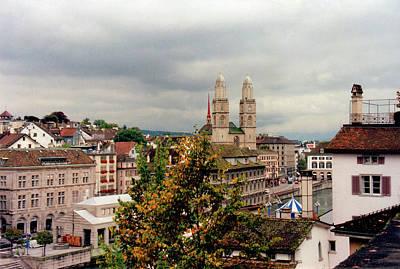 Grossmuenster Church Zurich Switzerland Print by Susanne Van Hulst