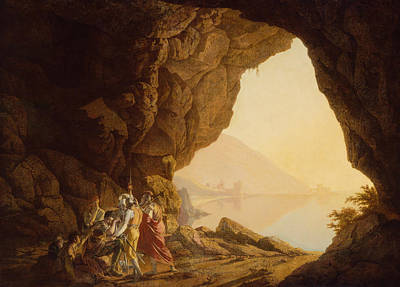 Italian Landscapes Painting - Grotto By The Seaside In The Kingdom Of Naples With Banditti, Sunset  by Joseph Wright